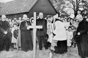 On October 4, 1953, Rt. Rev. Msgr. Henry E. Donnelly, head of the Eastern Deanery of the Detroit Archdiocese, breaks ground in Harper Woods to officially begin the construction of Notre Dame High School
